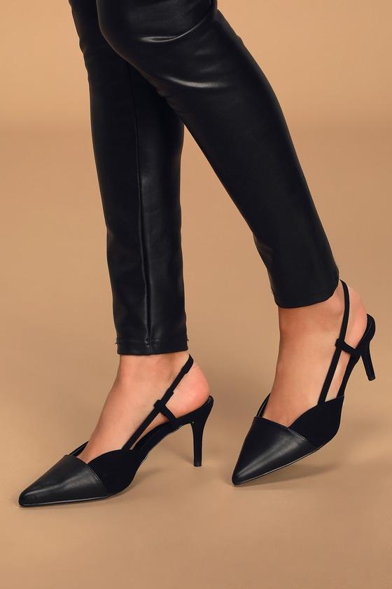 Black Vegan Pumps - Pointed-Toe Heels