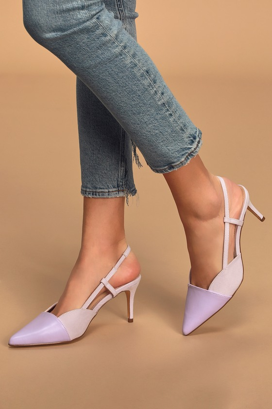 Lulus Exclusive! Rock your outfit with the Lulus Steviee Lilac Pointed-Toe Slingback Pumps and have your feet singing! Soft vegan suede shapes these chic kitten heels with a square collar and contrasting vegan leather along the pointed-toe upper. Slingback strap (with a bit of elastic) and supportive side straps completes this of-the-moment look! Fit: This garment fits true to size. 2. 75\\\