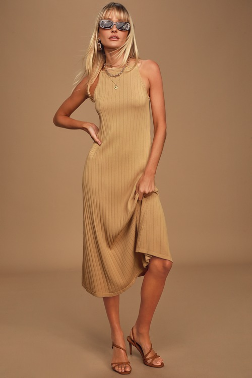 Better Things Camel Ribbed Sleeveless Midi Dress
