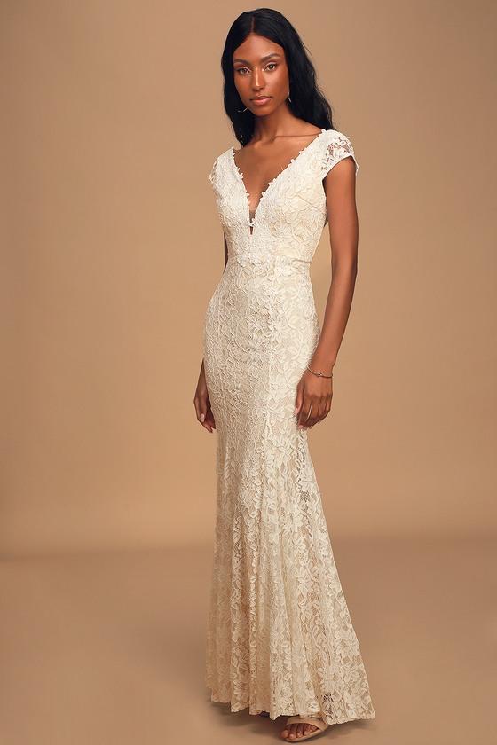 Icing on the Cake White Lace Short Sleeve Maxi Dress