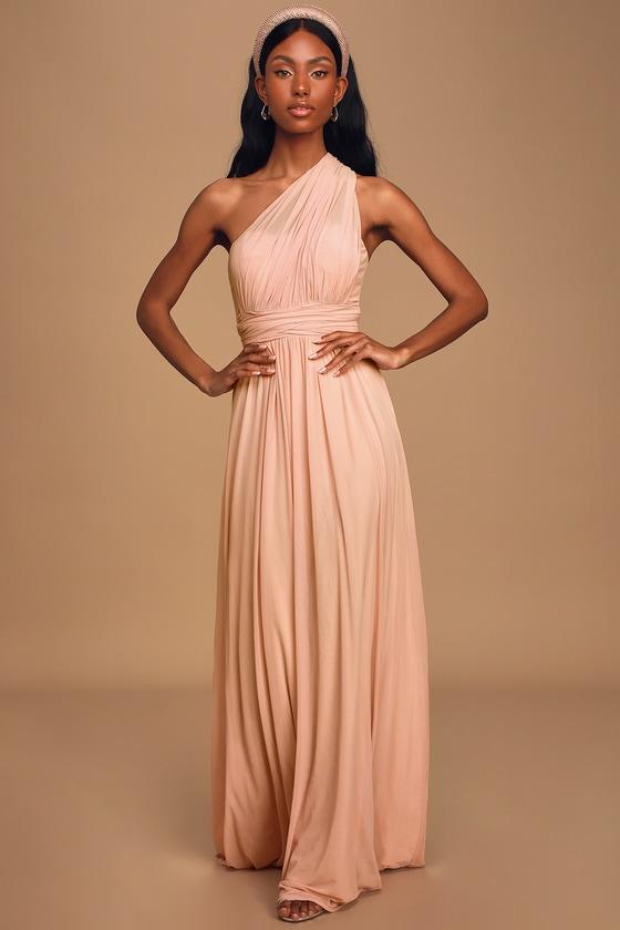 Convertible Blush Pink Dress Pink Maxi Dress Bridesmaid Dress Lulus