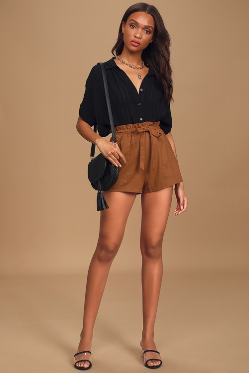 First Things First Rust Brown Paperbag Waist Shorts