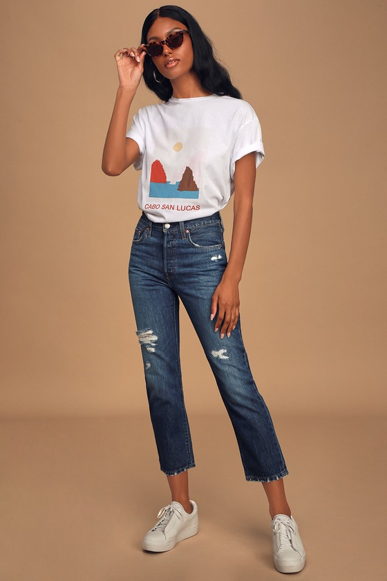 501 Dark Wash Distressed High Rise Straight Leg Cropped Jeans