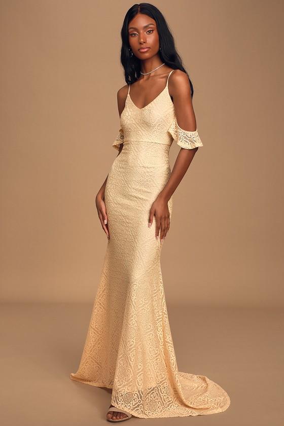 Declare My Love Cream Lace Cold-Shoulder Mermaid Maxi Dress