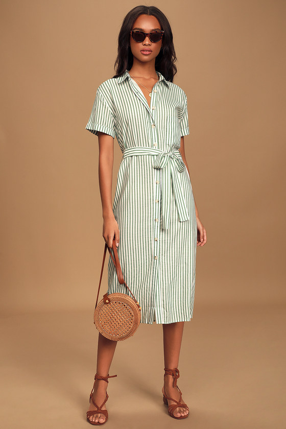 Beachy Keen Sage Green Striped Button-Up Midi Dress