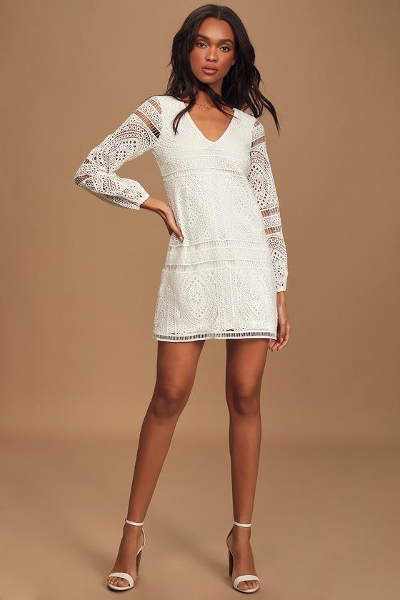 60s Wedding Dresses | 70s Wedding Dresses Til The End Of Time White Lace Long Sleeve Mini Shift Dress - Lulus $65.00 AT vintagedancer.com