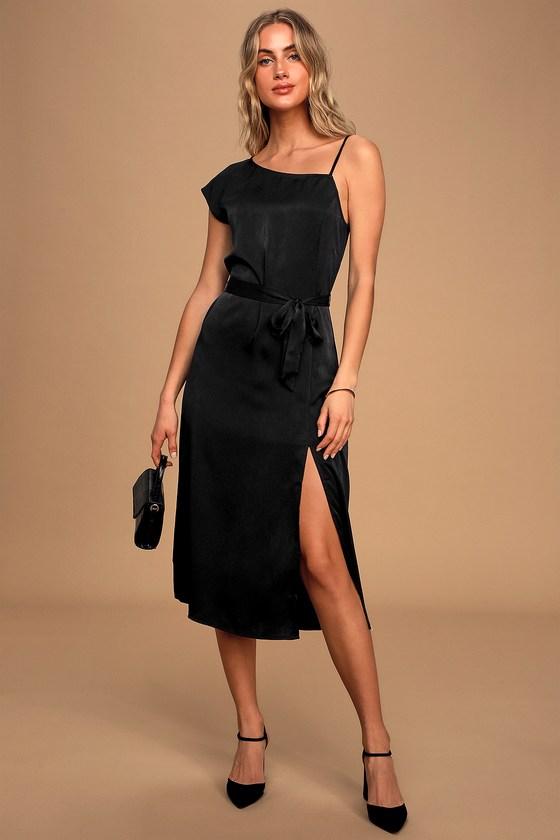 Very Nice Black Asymmetric Cut Single Sleeve Open Back Midi Dress