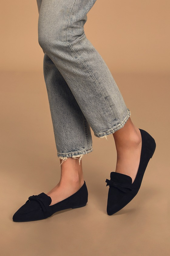Black Loafers - Pointed-Toe Loafers