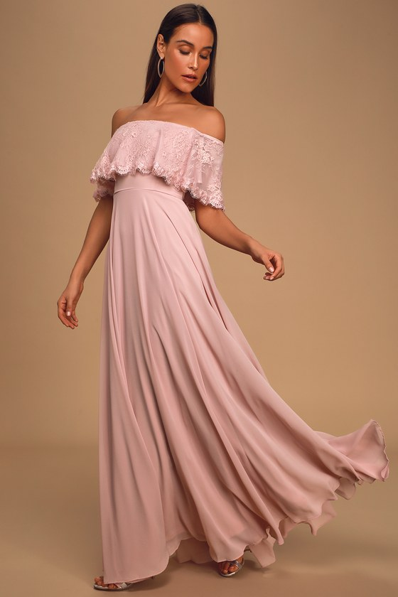 Everlasting Love Dusty Lavender Lace Off-The-Shoulder Maxi Dress