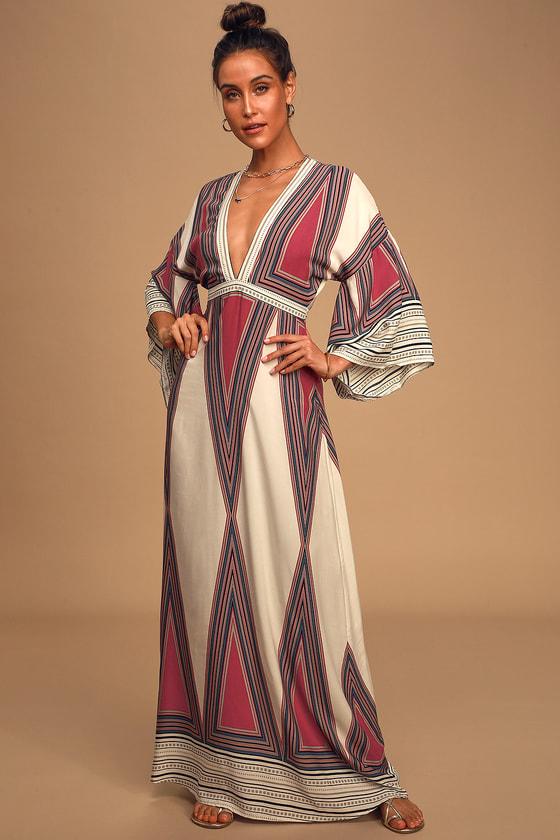 70s Dresses – Disco Dress, Hippie Dress, Wrap Dress Montecito Cream Print Maxi Dress - Lulus $64.00 AT vintagedancer.com