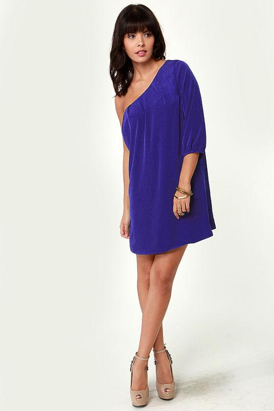Cute One Shoulder Dress - Blue Dress - Navy Blue Dress - Shift ...