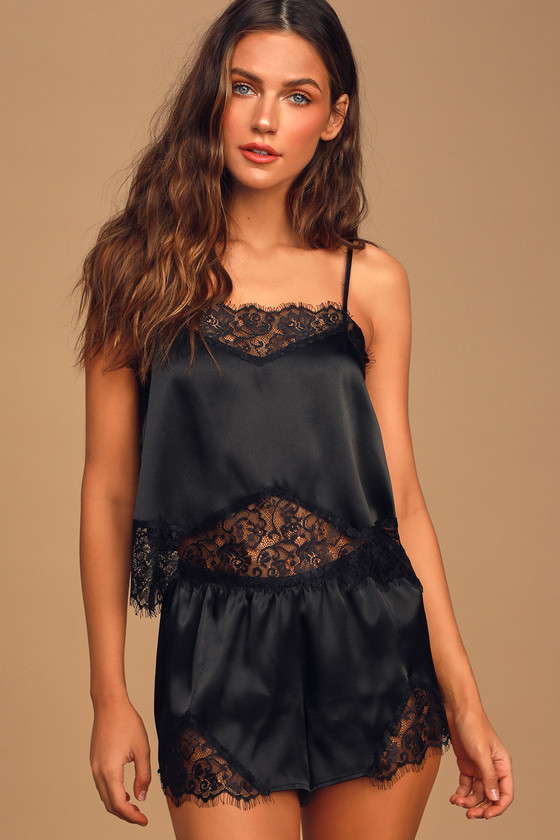 Love to Lounge Black Satin and Lace Two-Piece Pajama Set