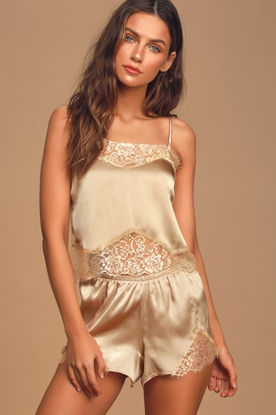 Love to Lounge Champagne Satin and Lace Two-Piece Pajama Set
