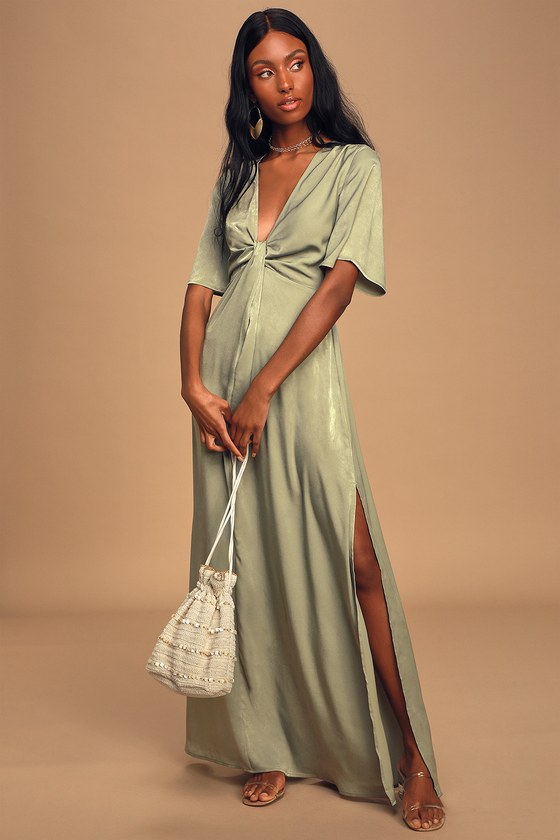 Sage Green Maxi Dress - Twist-Front Dress - Short Sleeve Dress