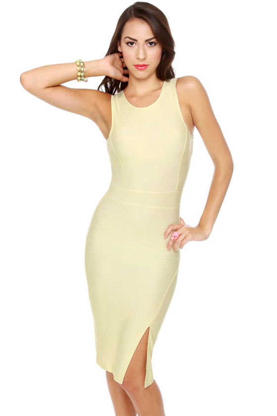 Motel Rosemary Buttercup Yellow Midi Dress at Lulus.com!