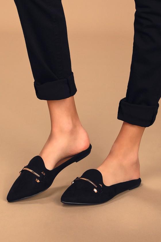 Chelsie Black Suede Pointed-Toe Loafer Slides