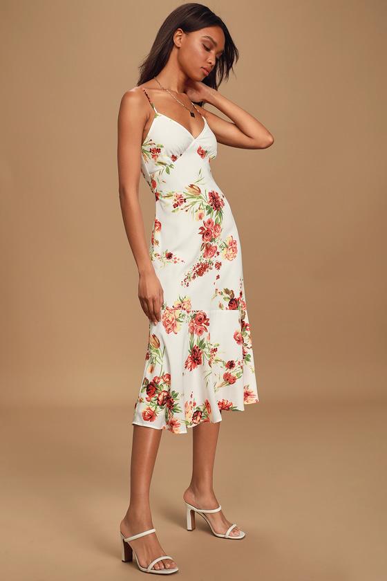 Summer Lovin' White Floral Print Sleeveless Midi Dress