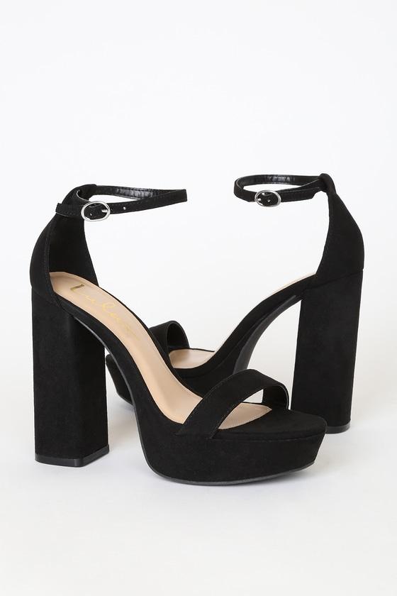 70s Shoes, Platforms, Boots, Heels Arrabella Black Vegan Suede Platform Ankle Strap Heels - Lulus $33.00 AT vintagedancer.com
