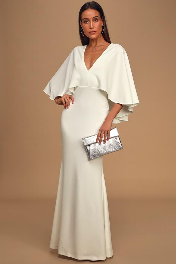 60s Wedding Dresses | 70s Wedding Dresses Spotlight Stealer White Cape Sleeve Maxi Dress - Lulus $82.00 AT vintagedancer.com