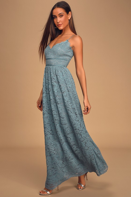 Made For Each Other Slate Blue Lace Maxi Dress