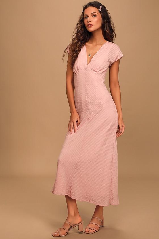 1930s Dresses | 30s Art Deco Dress Let Love Grow Light Pink V-Neck Midi Dress - Lulus $59.00 AT vintagedancer.com