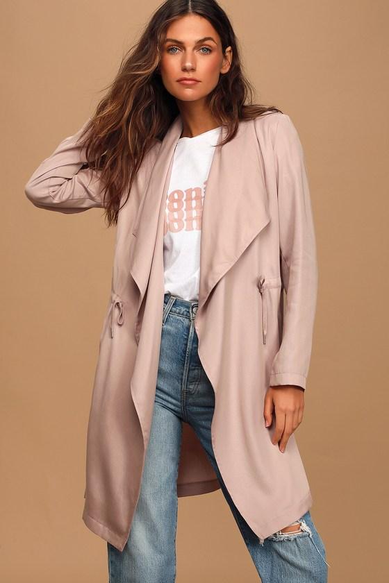 BB Dakota Let It Rain Blush Pink Trench Coat