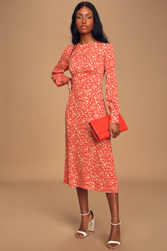 1930s Day Dresses, Afternoon Dresses History Grow Together Red Floral Print Long Sleeve Midi Dress - Lulus $79.00 AT vintagedancer.com