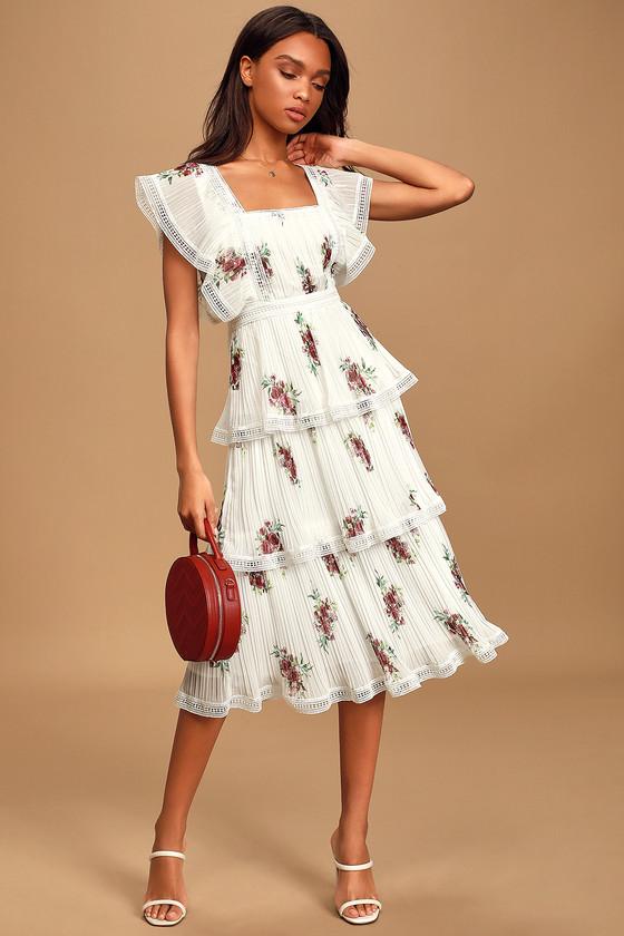 Vintage Tea Dresses, Floral Tea Dresses, Tea Length Dresses Thriving Romance White Floral Print Tiered Midi Dress - Lulus $92.00 AT vintagedancer.com