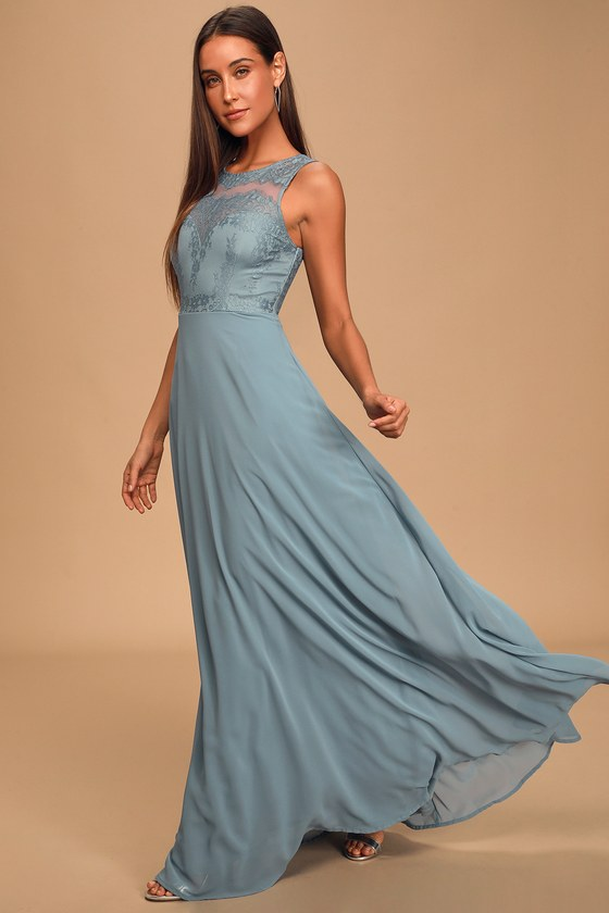 Forever Kind of Love Slate Blue Lace Maxi Dress