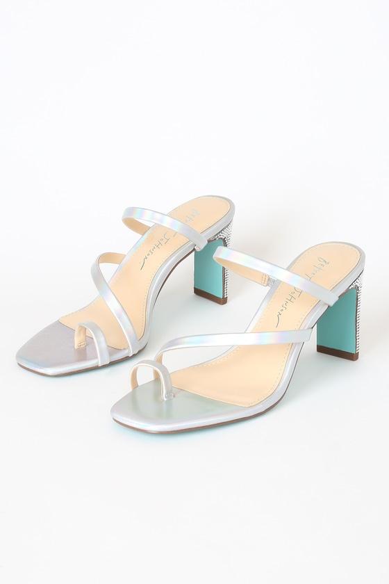 Betsey Johnson Anya Silver Rhinestone High Heel Sandals