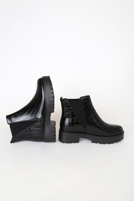 Black Boots - Crocodile-Embossed Boots
