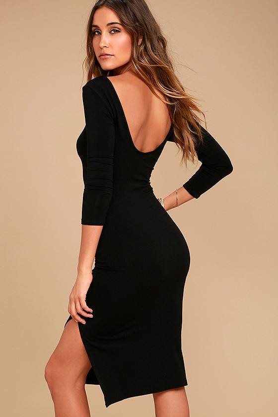 Cheongsam Black Fitted Midi Bodycon Dress with Side Slit