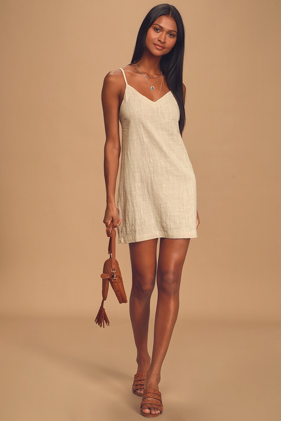 Florida Beige Sleeveless Mini Shift Dress