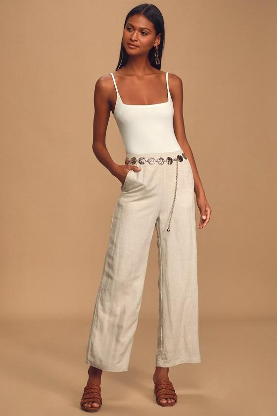 60s – 70s Pants, Jeans, Hippie, Bell Bottoms, Jumpsuits Native Fox Beige Wide-Leg Pants - Lulus $88.00 AT vintagedancer.com