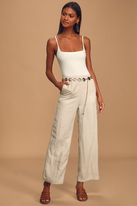 Vintage High Waisted Trousers, Sailor Pants, Jeans Native Fox Beige Wide-Leg Pants - Lulus $88.00 AT vintagedancer.com