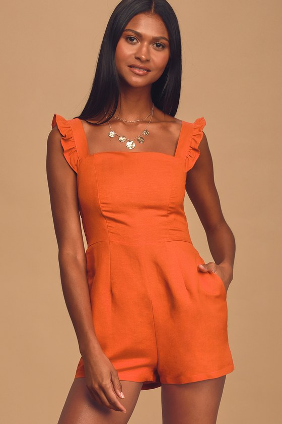 70s Shorts | Denim, High Rise, Athletic Native Fox Orange Ruffled Romper - Lulus $92.00 AT vintagedancer.com
