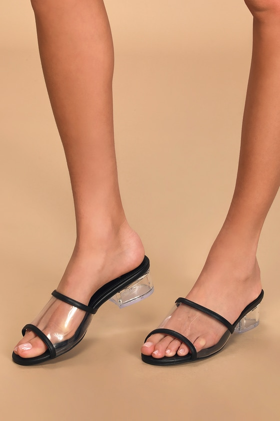 Vintage Shoes, Vintage Style Shoes Jae Black Vinyl Peep-Toe Mules - Lulus $36.00 AT vintagedancer.com