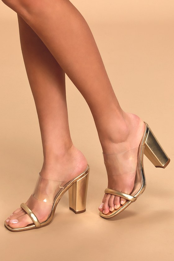 60s Shoes, Boots Arianna Gold Metallic High Heel Sandal Heels - Lulus $37.00 AT vintagedancer.com