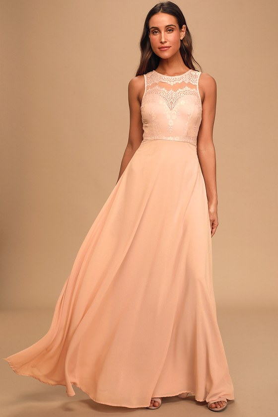 Forever Kind of Love Blush Lace Maxi Dress