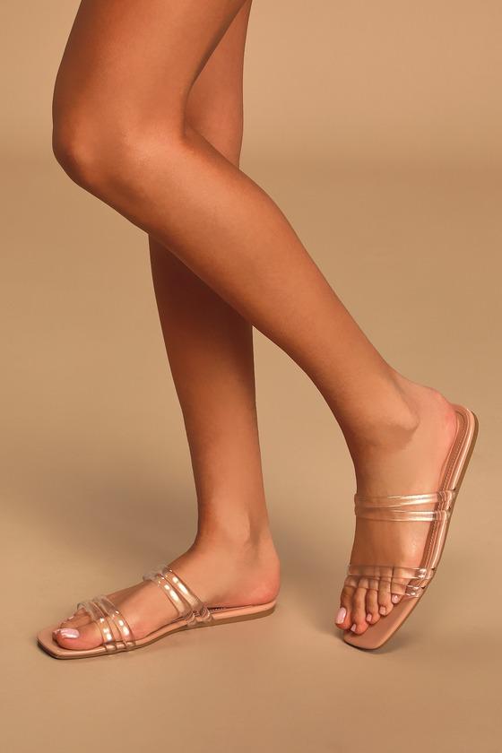 60s Shoes, Boots Kazzie Nude Vinyl Flat Slide Sandal Heels - Lulus $25.00 AT vintagedancer.com