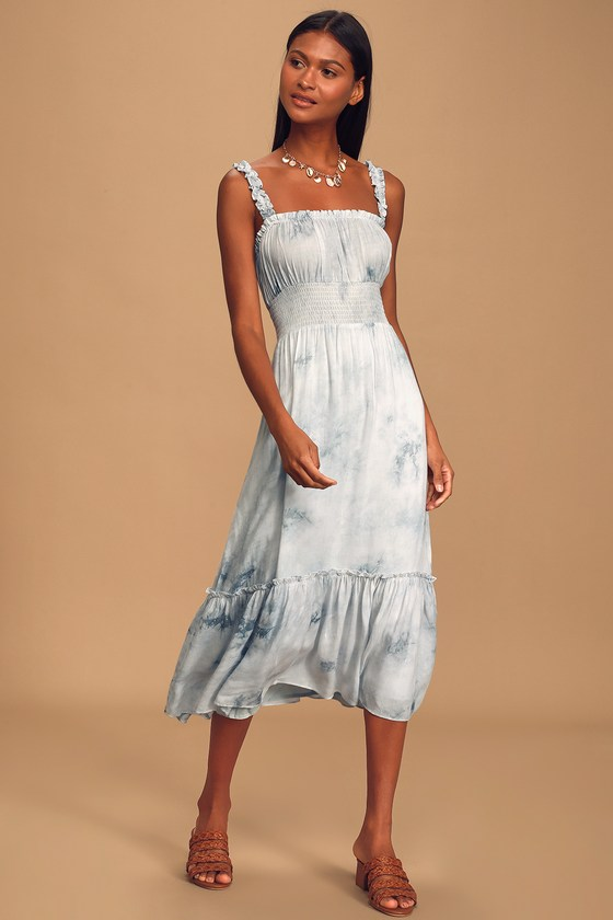 Lulus x LUSH Ruffle Luck Blue Tie-Dye Ruffled Midi Dress