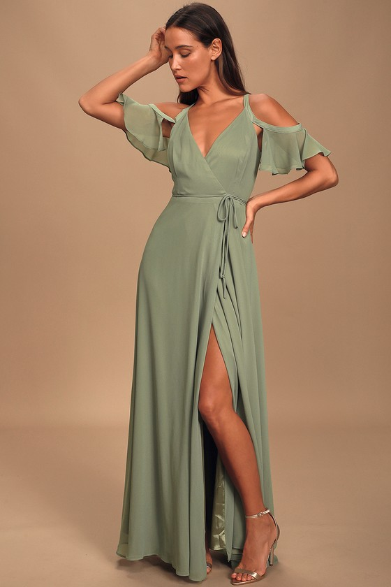 Easy Listening Sage Green Cold-Shoulder Wrap Maxi Dress