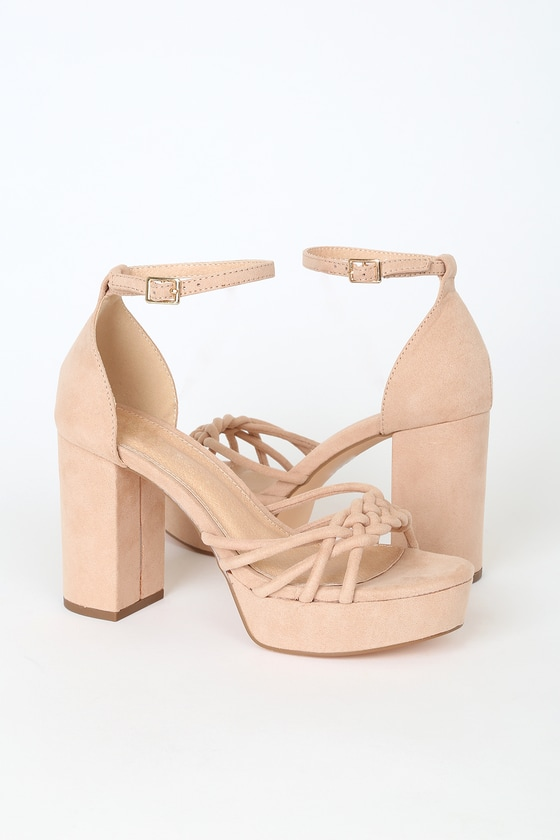 Cute Camel Suede Heels - Platform Heels