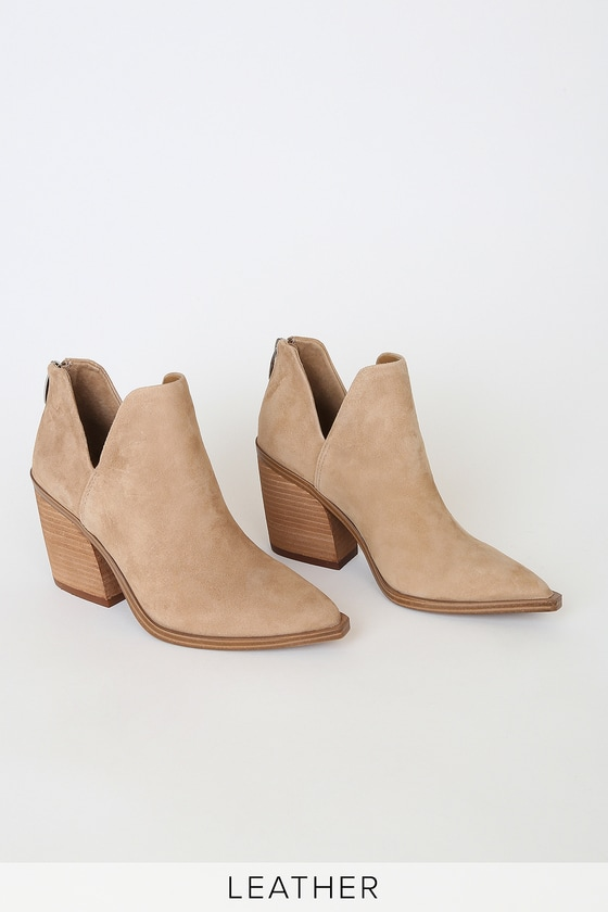 Steve Madden Alyse Tan Suede Leather Pointed-Toe Ankle Booties