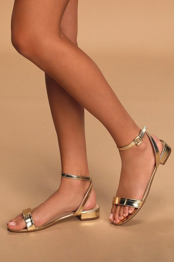 70s Shoes, Platforms, Boots, Heels Darryian Gold Ankle Strap Sandal Heels - Lulus $26.00 AT vintagedancer.com