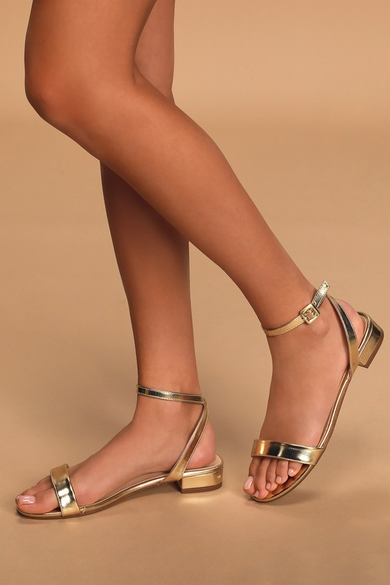 Cute Gold Sandals - Ankle Strap Sandals