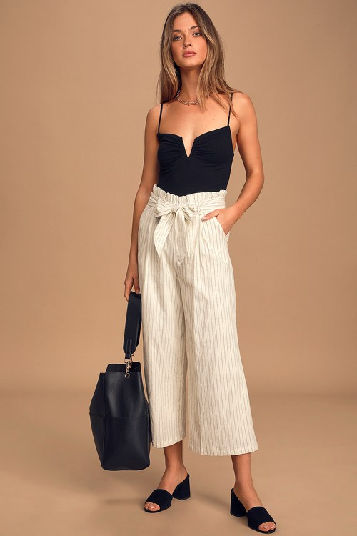 Liam Cream Pinstripe Paperbag Waist Belted Culotte Pants
