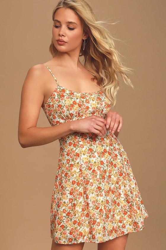 Born To Blossom White Floral Print Mini Slip Dress