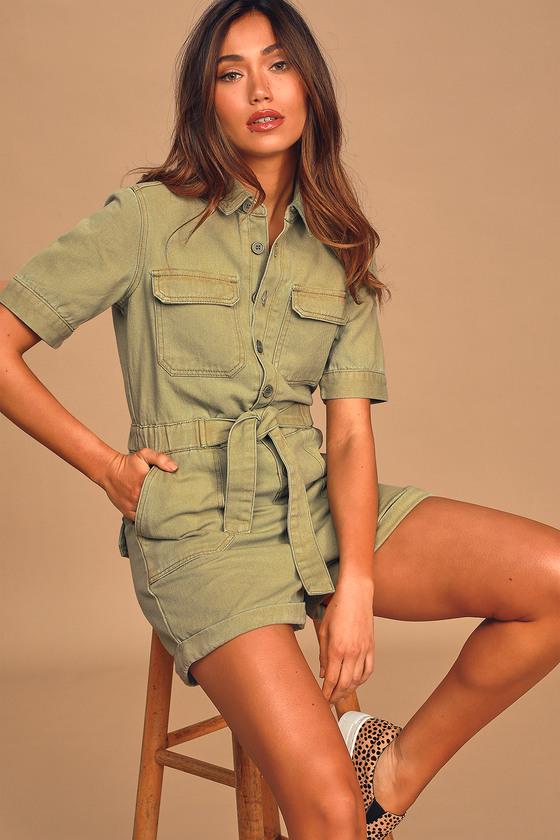 Vintage High Waisted Trousers, Sailor Pants, Jeans Rumor Has It Olive Green Denim Short Sleeve Button-Up Romper - Lulus $64.00 AT vintagedancer.com