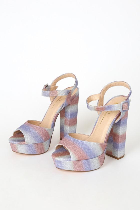 60s Shoes, Boots Liberty Multi Glitter Striped Platform High Heels - Lulus $40.00 AT vintagedancer.com
